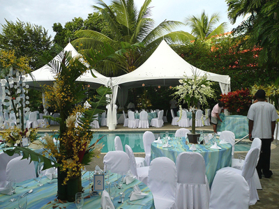 Poolside wedding at Plantation Beach Villas, Tobago